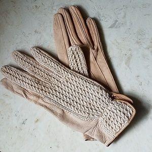 Vintage crochet back driving gloves